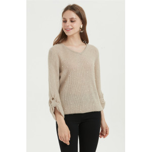 chinese cashmere supplier hand beading pure cashmere women sweater in high quality cashmere yarns