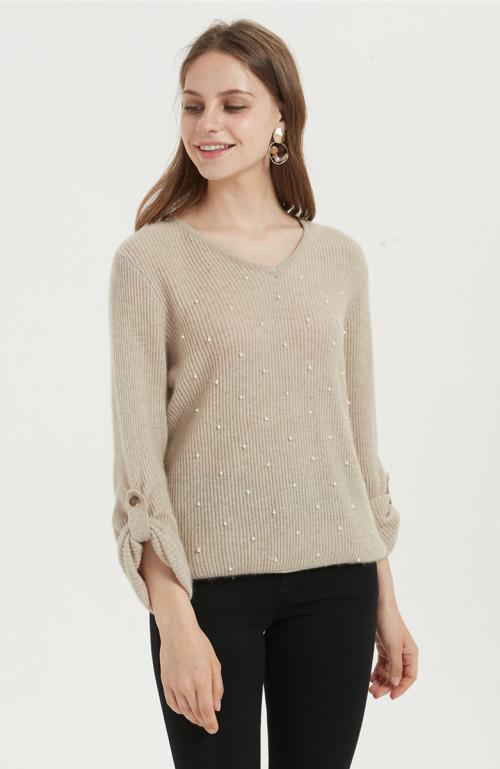 Suéter de mujer de cachemira pura con abalorios a mano con color natural