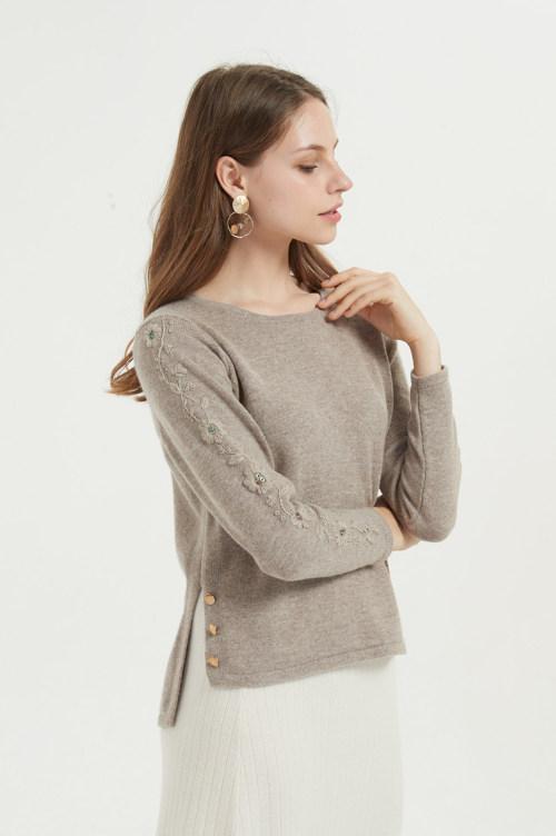 nouveau pull femme pur cachemire avec broderie à la main