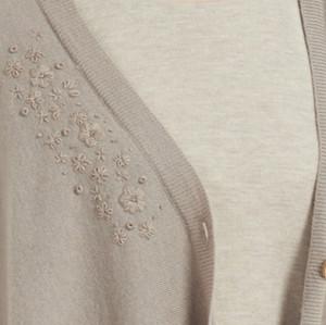 cárdigan de mujer de cachemira pura de diseño de moda con bordado a mano