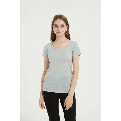 camiseta de mujer con cuello en v casual mezcla de algodón para el verano