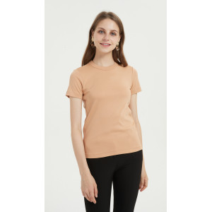 OEM casual cotton blend women tshirt with several colors available China manufacturer