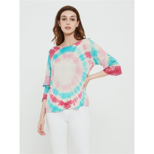 wholesale women latest tie dye printing silk cashmere sweater in reasonable price