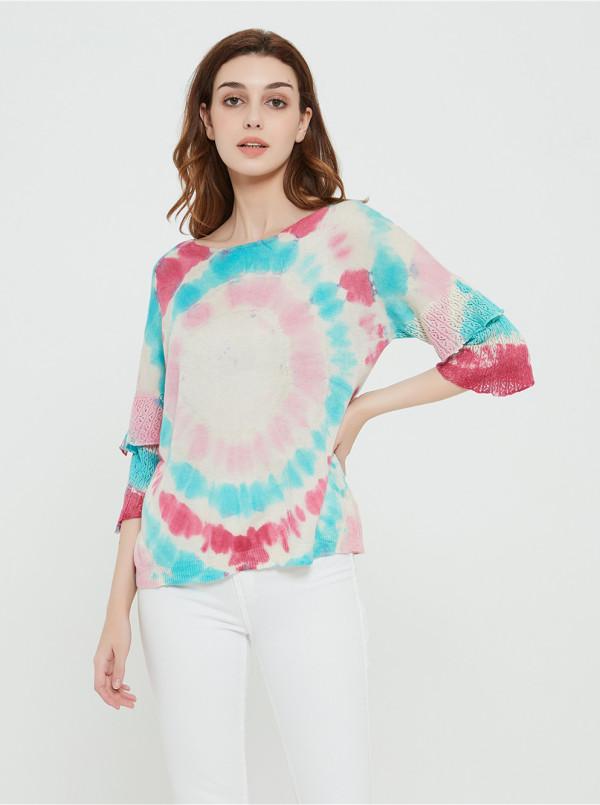 wholesale women latest tie dye printing silk cashmere sweater in reasonable price