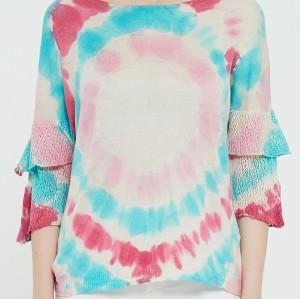 suéter de mujer de cachemir puro de nuevo diseño con estampado tie dye