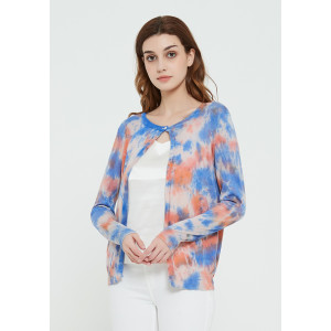 High quality wholesale women latest tie dye printing silk cashmere cardigan in reasonable price