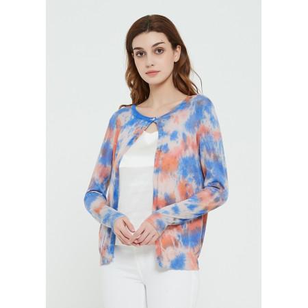 Mode reiner Kaschmir Damenpullover mit Batikdruck