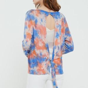 suéter de mujer de cachemira pura de moda con estampado tie dye