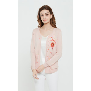 High quality wholesale women latest hand printed silk cashmere cardigan in reasonable price