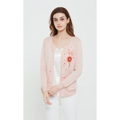 joli pull femme pur cachemire en rose avec dessiné à la main