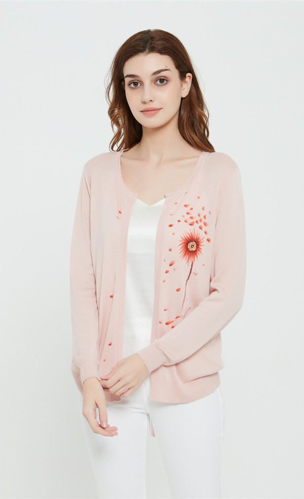 High quality wholesale women latest hand printed silk cashmere cardigan in low price