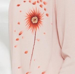 bonito suéter de cachemir puro para mujer en rosa con dibujo a mano