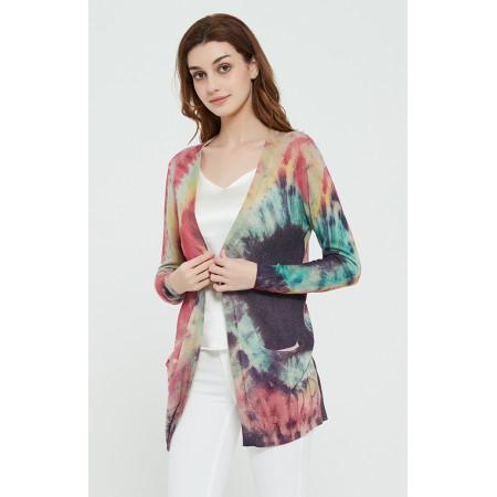 Mode reiner Kaschmir Frauenpullover mit Batikdruck
