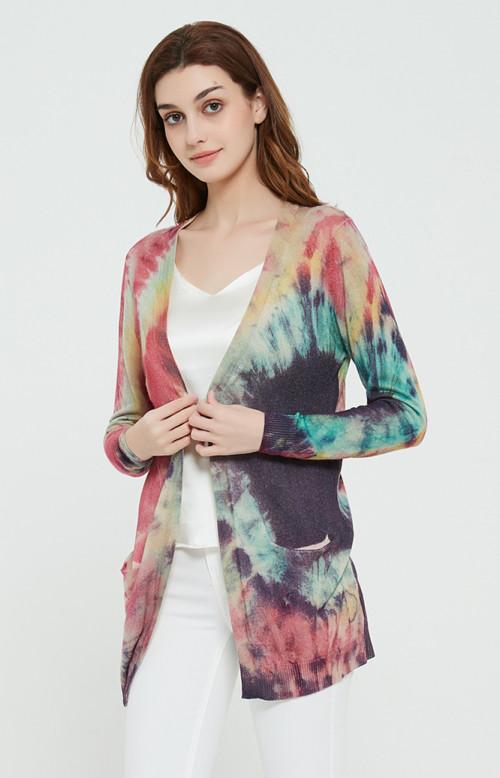 suéter de mujer de cachemir puro de moda con estampado tie dye