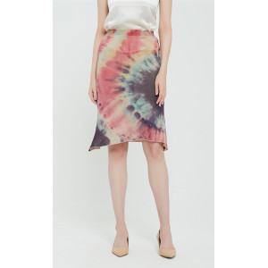 High quality wholesale women latest tie dye printing silk cashmere knit skirt in reasonable price
