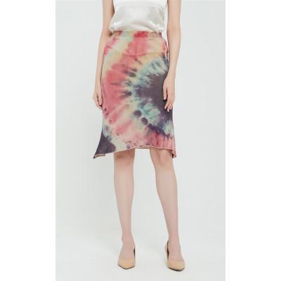 bonito vestido de pura cachemira para mujer con estampado tie dye