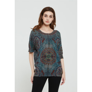 wholesale women latest Active printing silk cashmere sweater in reasonable price