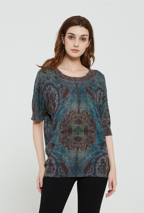 nouveau pull femme pur cachemire design avec impression graphique
