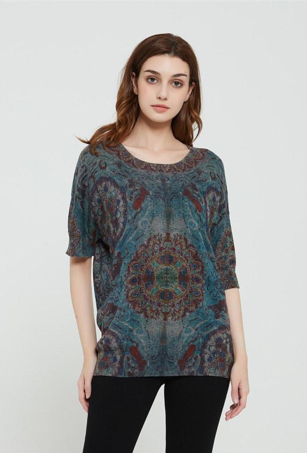 suéter de mujer de cachemir puro de nuevo diseño con estampado gráfico