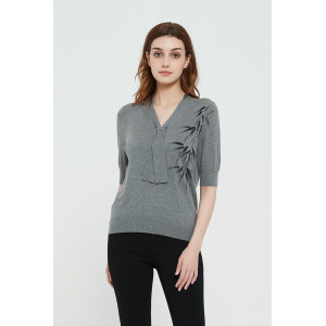 High quality wholesale women New hand printed silk cashmere sweater in reasonable price