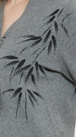 bonito vneck suéter de pura cachemira para mujer con dibujado a mano
