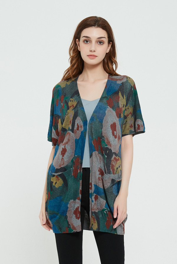 High quality wholesale women latest Active digital printing silk cashmere sweater in reasonable price