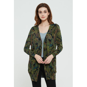 High quality wholesale women's latest Active printing silk cashmere cardigan in reasonable price