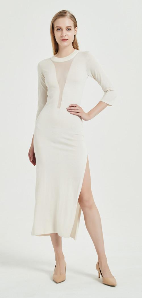 robe longue en soie de cachemire de style ivoire