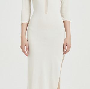 Vestido largo de seda de cachemira para mujer con color marfil