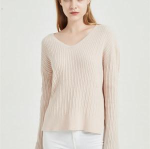 suéter de mujer de cachemir puro de alta calidad con tecnología sin costuras