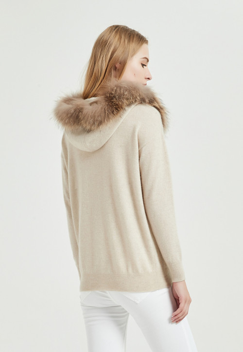 chandail de femmes de cachemire pur de conception de mode avec la couleur naturelle