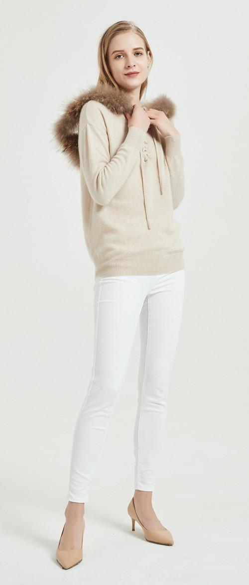 suéter de mujer de cachemira pura de diseño de moda con color natural