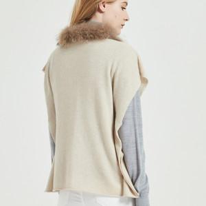 poncho pour femme en pur cachemire avec couleur naturelle