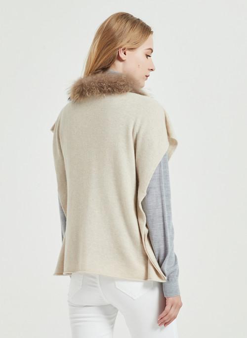 poncho de mujer de cachemir puro de moda con color natural