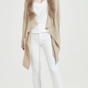 chaqueta de punto de cachemir de pura moda con color natural