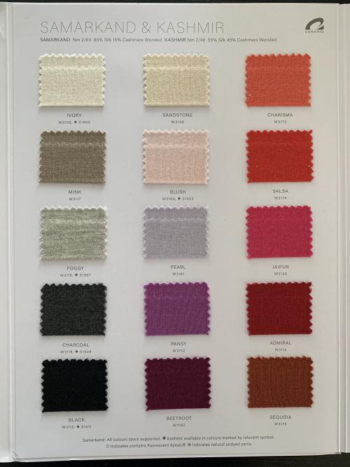 Ewsca Spring nouvelles cartes de couleur fantaisie avec mélange de cachemire en soie