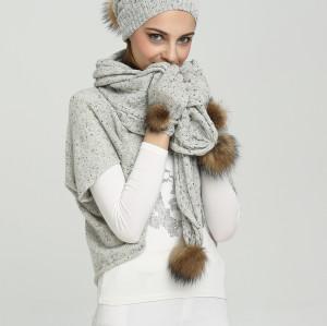 conjunto de gorro y bufanda de punto de cachemira de hilo elegante para mujer