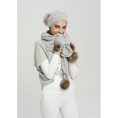 ensemble bonnet et écharpe en tricot cachemire fantaisie pour femme