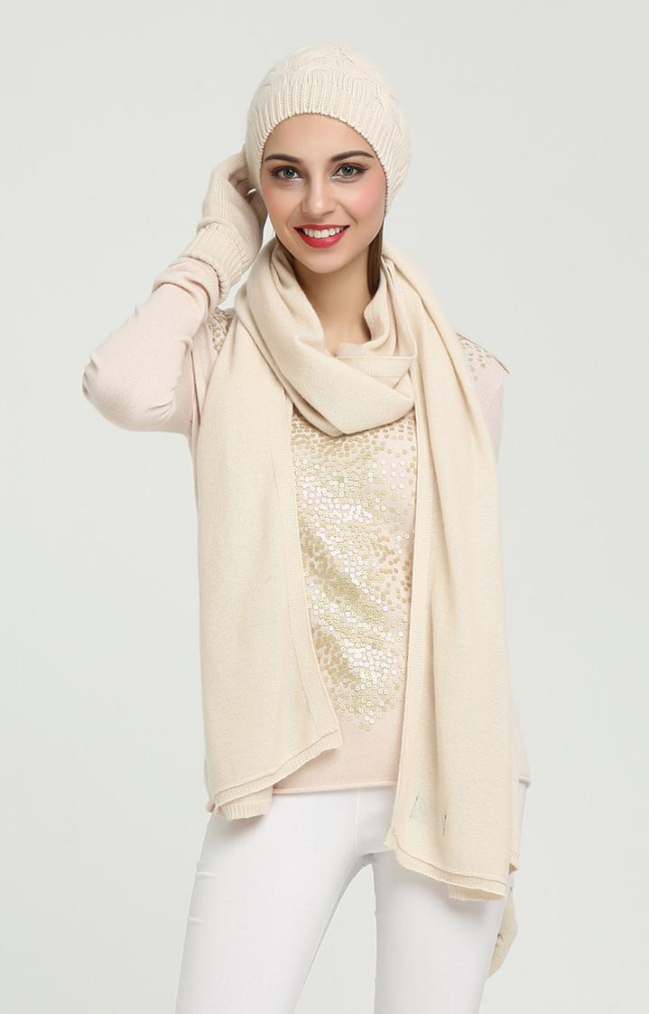 conjunto de gorro y bufanda de cachemir puro en color liso para mujer