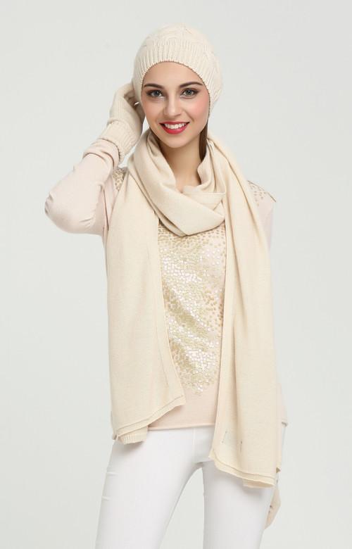 conjunto de gorro y bufanda de cachemir puro de color liso para mujer