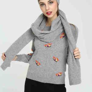 nuevo conjunto de gorro y bufanda de cachemir puro en color liso para mujer