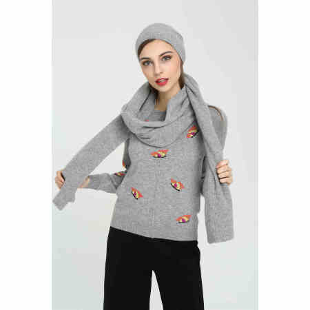 OEM new women's solid colour pure cashmere hat and scarf set wholesale