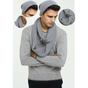 Wholesale  China factory men's solid colour pure cashmere hat and scarf set with high quality
