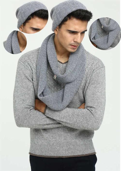 ensemble bonnet et écharpe en cachemire pur pour homme