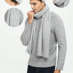 Traje de bufanda y gorro de cable de cachemira de color liso para hombre