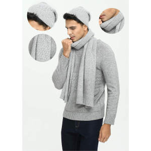 Wholesale Men's solid colour pure cashmere cable hat and scarf suit China manufacturer
