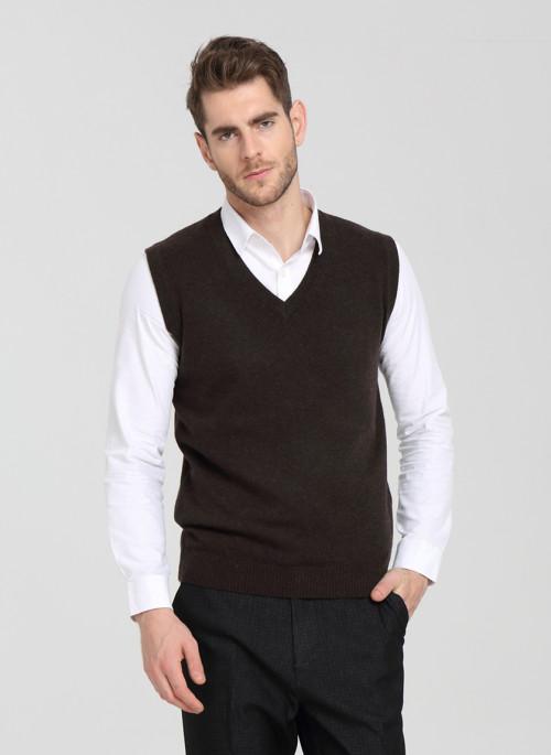 Chaleco de cachemir con cuello en V de manga larga para hombre para otoño invierno EM16W002s