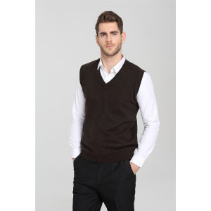 Wholesale men's long Sleeve V-neck cashmere vest for Fall Winter EM16W002s OEM China supplier
