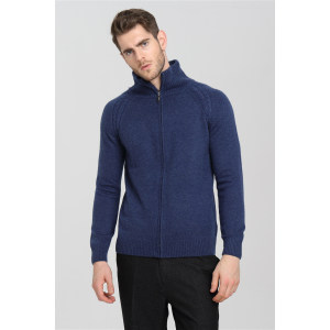 Wholesale high quality men blue zipper with half high collar cashmere cardigan China factory