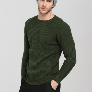 suéter de cachemira de punto con cuello redondo y manga larga para hombre